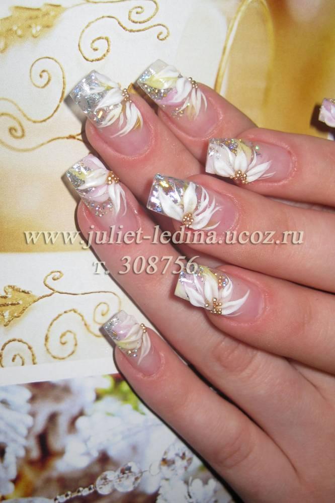 Дизайн ногтей свадебный бело зеленый